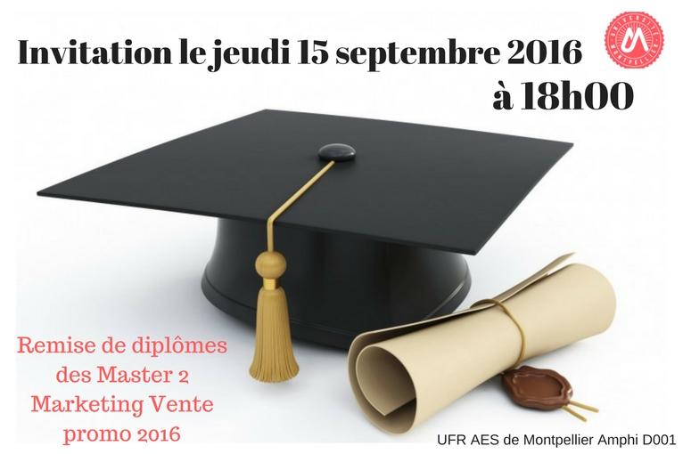 Cérémonie de remise de diplôme des master 2 marketing Vente de l'UFR AES