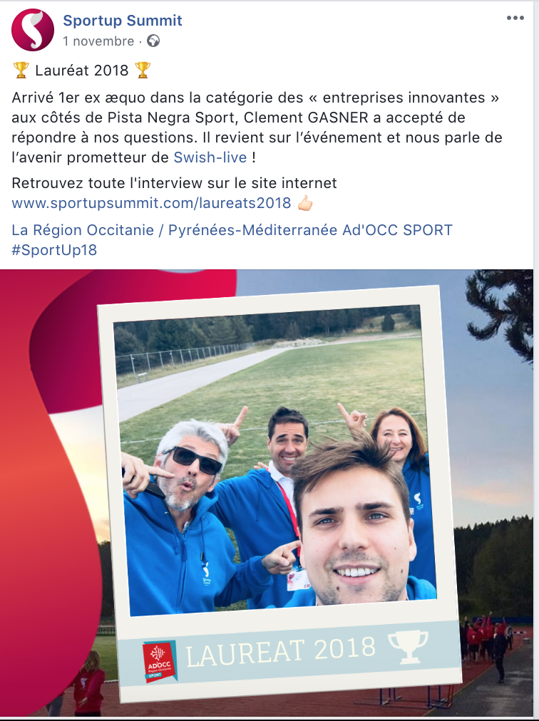 Publication Facebook du SportUp Summit